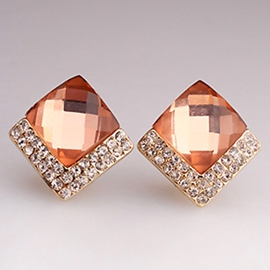 Ericdress Square Crystal Diamante Stud Earrings
