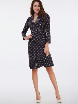 Ericdress Notched Lapel Double-Breasted Pots Sheath Dress