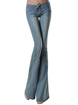 Ericdress Lace-Up Washable Slim Full Length Jeans