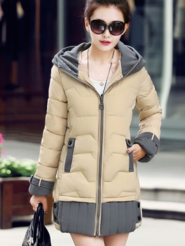 Ericdress Color Block Slim Zipper Cotton Coat