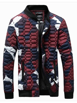 Ericdress Camouflage Color Block Zip Slim Winter Style Men's Jacket