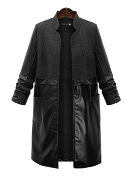 Ericdress PU Patchwork Stand Collar Trench Coat