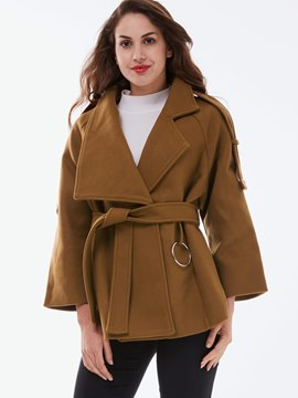 Ericdress Loose Turn-Down Belt Coat