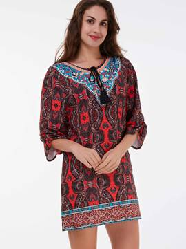 Ericdress Ethnic Print Lace-Up Three-Quarter Sleeve Casual Dress