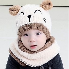 Ericdress Lovely Cat Design Furry Warm Kid's Hat & Neck Warmer