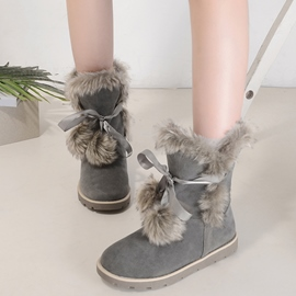 Ericdress Lovely Pom Pom Snow Boots
