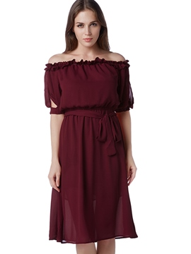 Ericdress Slash Neck Off-The-Shoulder Half Sleeve Casual Dress