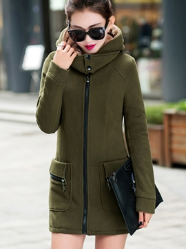 Ericdress Solid Color Pocket Slim Hoodie