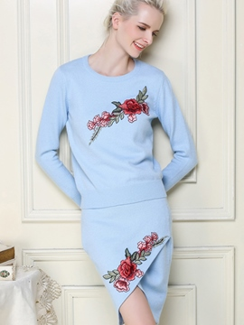Ericdress Ladylike Print Knitwear Leisure Suit