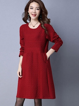Ericdress Simple Patchwork Weave Pleated Casual Dress