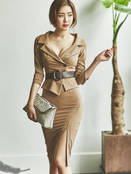 Ericdress Solid Color Ladylike Split Skirt Leisure Suit