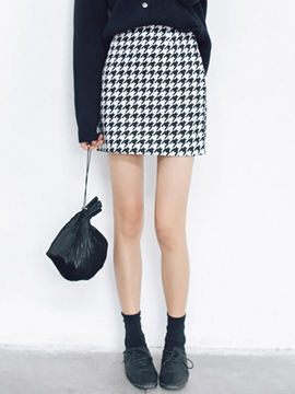Ericdress Houndstooth Pattern Bodycon Column Skirt