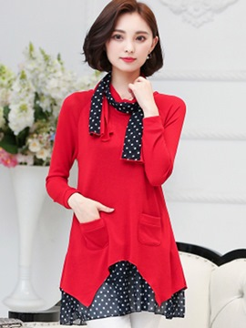 Ericdress Polka Dots Patchwork Asymmetric Pocket Casual Dress