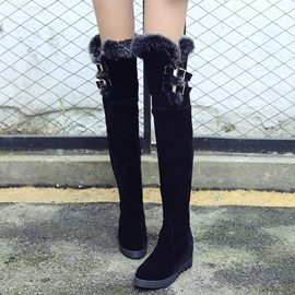 Ericdress Furry&buckles Suede Thigh High Boots