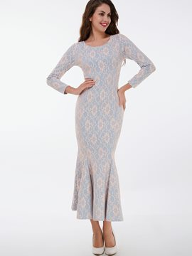 Ericdress Lace Patchwork Mermaid Back Split Mermaid Maxi Dress