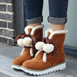 Ericdress Lovely Pom Snow Boots