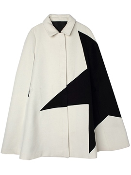 Ericdress Color Block Turn-Down Loose Cape