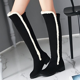 Ericdress Pretty Suede Fur Decorated Knee High Boots