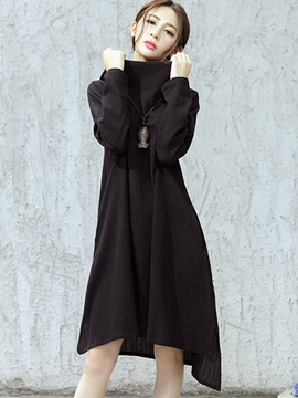 Ericdress Heap Collar Asymmetric Loose Casual Dress