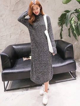 Ericdress Turtleneck Plain Straight Sweater Dress