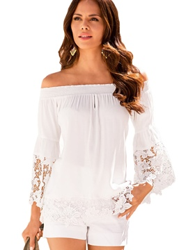 Ericdress White Slash Neck Lace Crochet Blouse