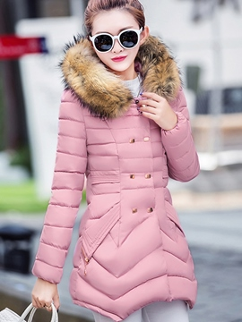 Ericdress Slim Double-Breasted Cotton Coat