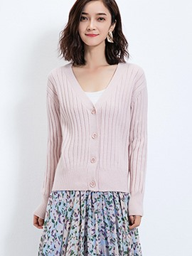 Ericdress Single-Breasted V-Neck Knitwear