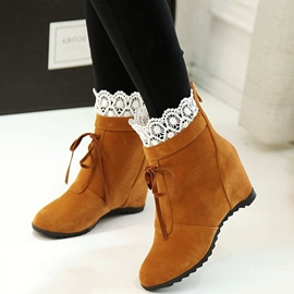 Ericdress Lace Patchwork Elevator Heel Ankle Boots