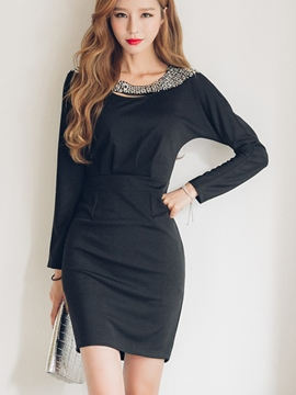 Ericdress Bead Korean Patchwork Bodycon Dress