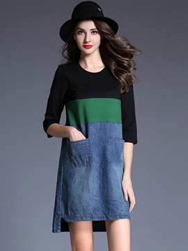 Ericdress Denim Patchwork Color Block Casual Dress