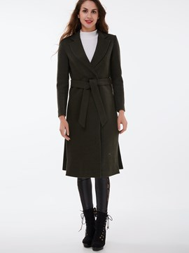 Ericdress Solid Color Slim European Coat