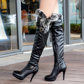 Ericdress Elegant Furry Platform Thigh High Boots
