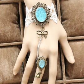 Ericdress Blue Gemstone Inlaid Lace Bracelet with Ring