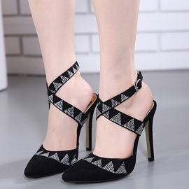 Ericdress Rhinestone Cross Strap Point Toe Stiletto Sandals