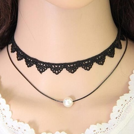 Ericdress Double Layers Pearl Design Choker Necklace