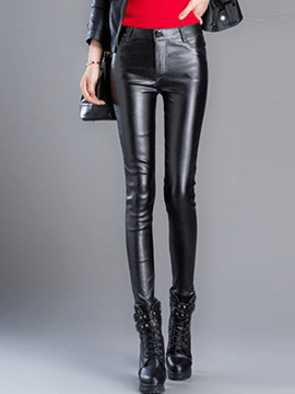 Ericdress PU High-Waist Pocket Leggings Pants