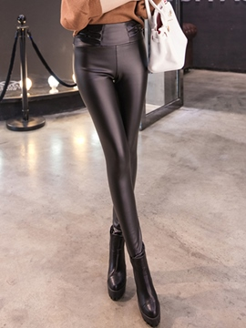 Ericdress PU High-Waist Leggings Pants