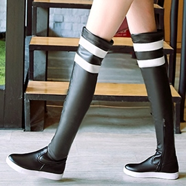 Ericdress PU Strip Flat Heel Thigh High Boots