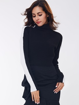 Ericdress Color Block Turtle Neck Crop Knitwear
