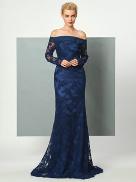 Ericdress Off The Shoulder Long Sleeve Lace Mermaid Long Evening Party Dress