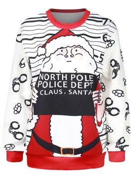Ericdress Stripped Printed Christmas Hoodie