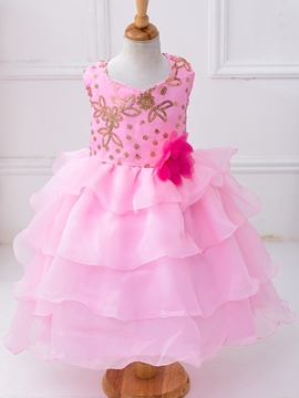 Ericdress Sequins Flower Layered Girls Dress