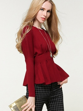 Ericdress Pelplum Solid Color Knitwear
