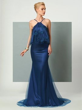 Ericdress Halter Detachebale Top Applique Sweep Train Mermaid Evening Dress