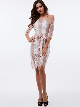 Ericdress Slash Neck Stripe Lace Dress