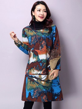 Ericdress Tie-Dye Print Round Collar Long Sleeve Casual Dress