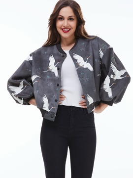 Ericdress Loose Animal Printed Jacket