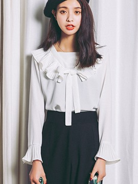Ericdress Tie Bow Front Long Sleeve Blouse
