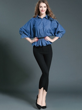 Ericdress Ladylike Denim Top Leisure Suit