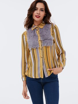 Ericdress Veritical Stripe Fleece Patchwork Blouse